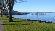 View of Commencement Bay and Dickman Mill Park, Tacoma, WA