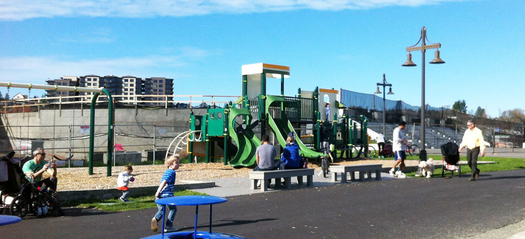 Play equipment at Point Ruston. The Department of Ecology has defined action levels to limit contaminants for child play areas to 20 ppm arsenic and 250 ppm lead.