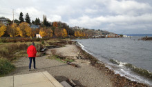 Amy Ryken walking and meditating on place in Dickman Mill Park, Tacoma, WA