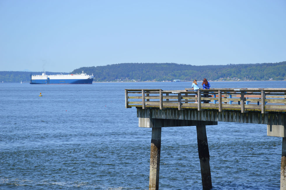 Visitors Taking in Views of Vashon Island and Commencement Bay from the Les Davis Pier, Tacoma, WA