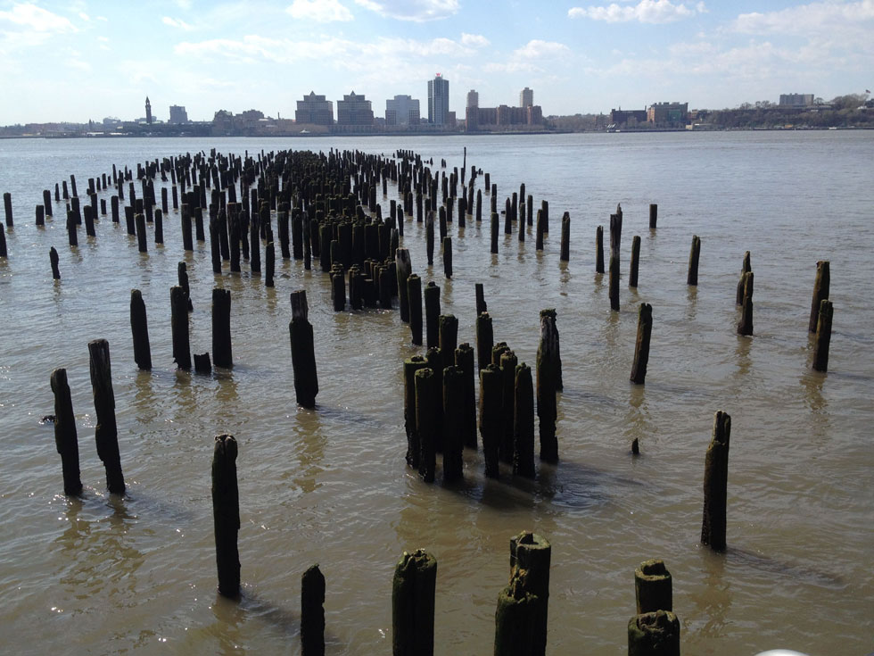 View of Pilings and New Jersey, Hudson River Park, New York