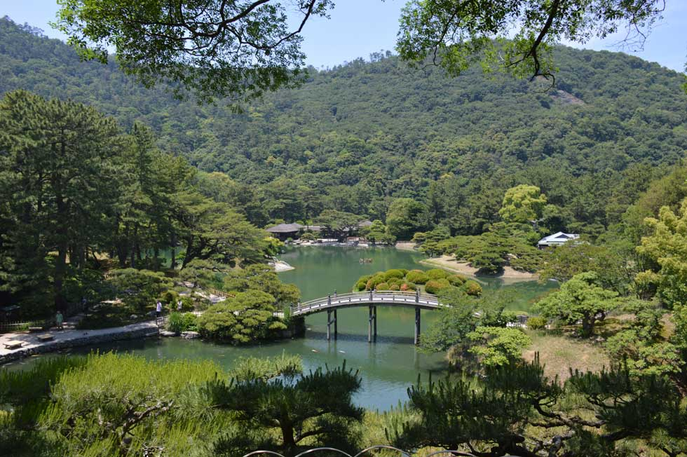 Nanko (South Pond) with Mt. Shiun in Background, Ritsurin Garden, Takamatsu, Japan