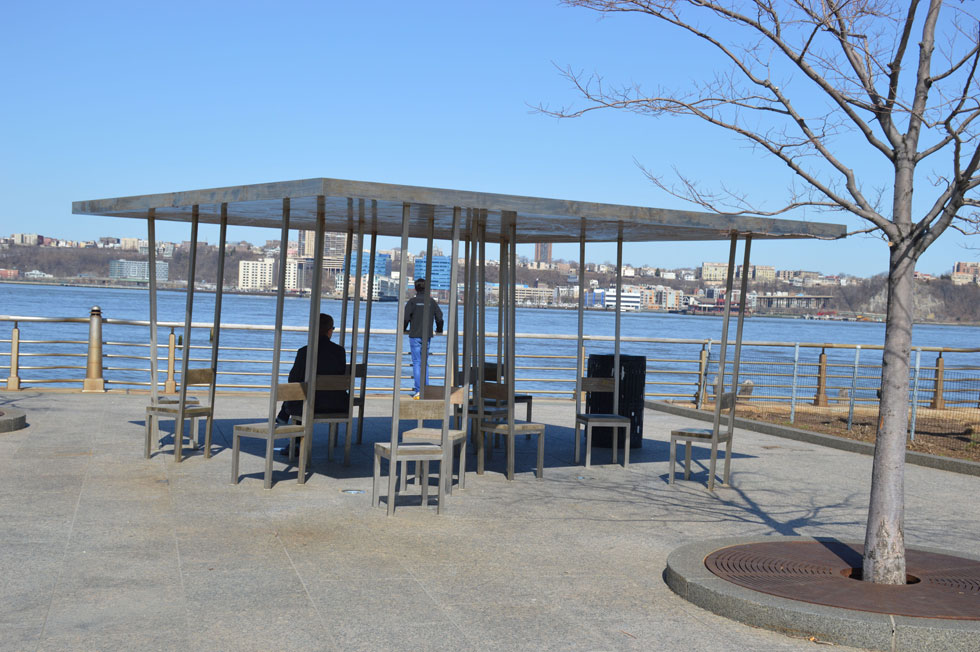 Two Too Large Tables by Allen and Ellen Wexler, Hudson River Park, New York