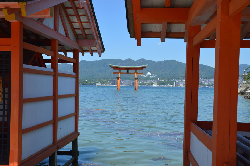 View from Itsukushima Shrine to O-Torri, Miyajima, Japan