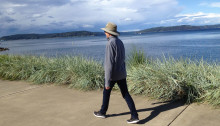 Amy Ryken walking on the Ruston Way Waterfront, Tacoma, WA