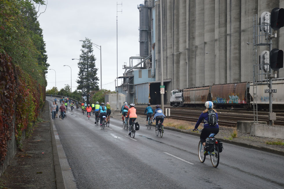 Cyclists and walkers on Schuster Parkway, Tacoma, WA