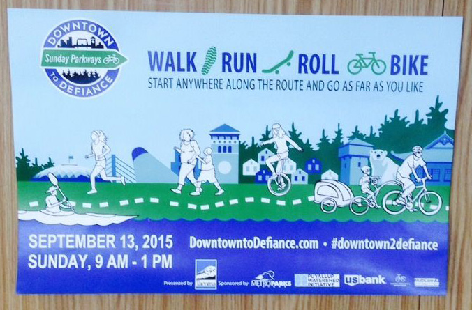 Poster promoting Downtown to Defiance event