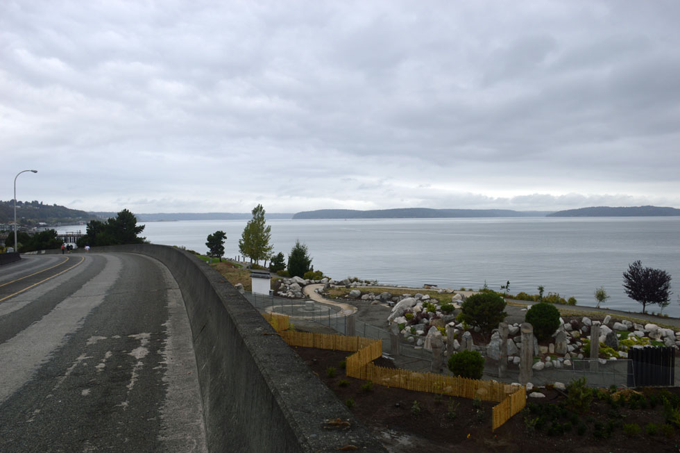 View of Schuster Parkway ramp, Chinese Reconciliation Park, and Commencement Bay, Tacoma, WA